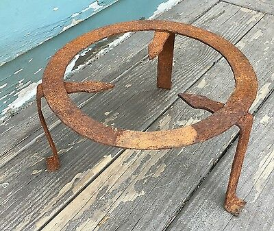 ANTIQUE  Iron METAL FRAME 3 Leg PLANT STAND Industrial Steampunk