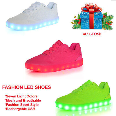 LED Shoes Flashing Sneakers Trainers Night Light-Up Mesh Breathable Girls Women
