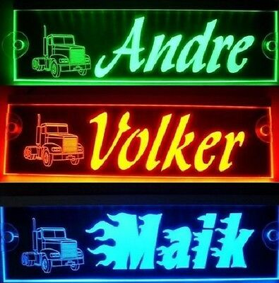 Trucker LKW Namensschild,LED beleuchtet, super Effekt,12V-24V, verschied. Farben