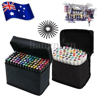 80 Color SET  Alcohol Graphic Art Pen Marker Broad Fine Point Tip In Bag AU