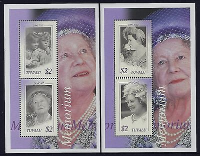 2002 Tuvalu Queen Mother Memorial Minisheets X2 Fine Mint Mnh/muh