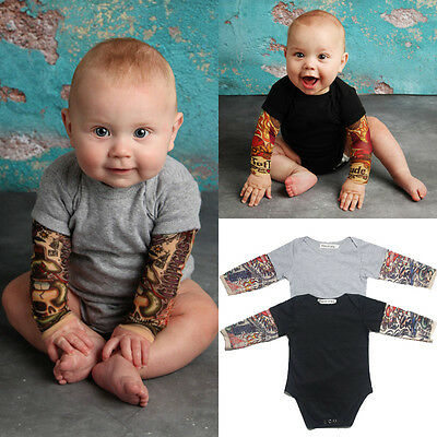 Tattoo Newborn Infant Baby Boy Bodysuit Romper Jumpsuit Clothes Outfits Onesies