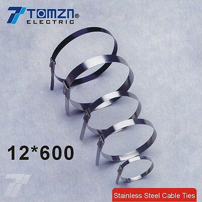 100pcs 12mmx600mm STAINLESS STEEL self-locking cable ties 12*600