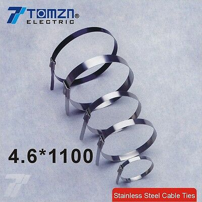 100pcs 4.6mmx1100mm STAINLESS STEEL self-locking cable ties