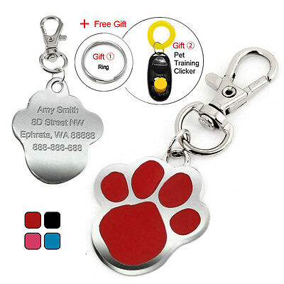 Paw Print Personalised Dog Tags Cat Pet ID Tag Engraved Name Free Spring Clicker