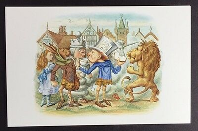 Alice In Wonderland POSTCARD Lewis Carroll TENNIEL Lion MAD HATTER Chess AW60