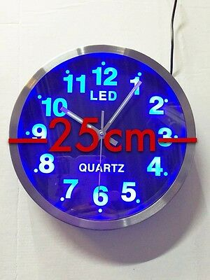 bleu led horloge murale montre design quartz analogue rond 25cm eur 20 99 picclick fr. Black Bedroom Furniture Sets. Home Design Ideas
