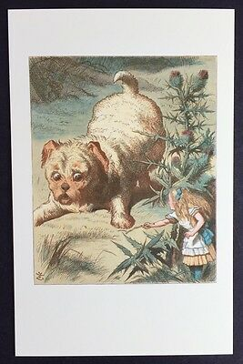 Alice In Wonderland POSTCARD Lewis Carroll TENNIEL Small Alice PUPPY Dog AW82