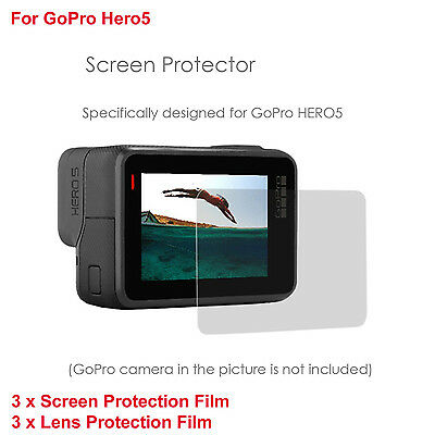 6X Glass LCD Dispaly HD Film Screen Protector Lens Protector for GoPro Hero 5 US