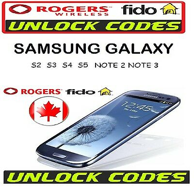 Rogers/Fido NETWORK UNLOCK CODES SAMSUNG HUAWEI XPERIA BLACK-BERRY ALL MODELS