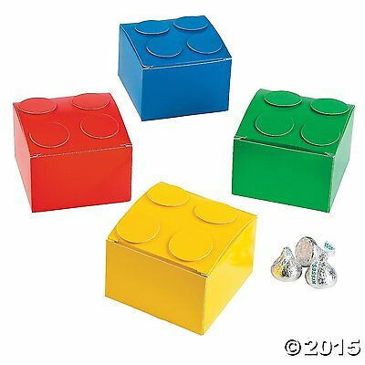 Pack of 6 - Colour Brick Party Favor Boxes - Lego Party Bag Fillers