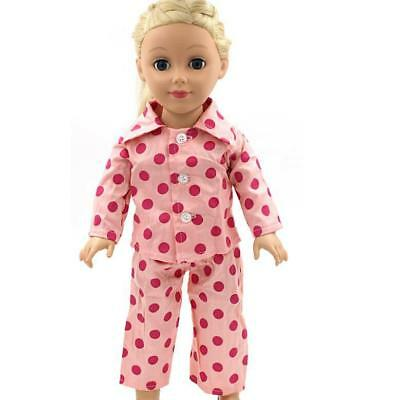 "Pink Dots Pajamas PJS Clothes Set for 18"" American Girl Our Generation Dolls"