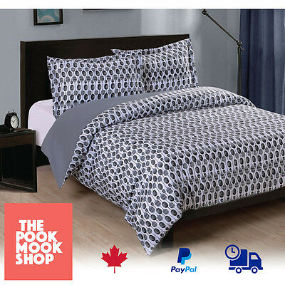 BLUE GREY DOTS Duvet Cover Set QUEEN/DOUBLE Bedding for Quilt Bed Blankets