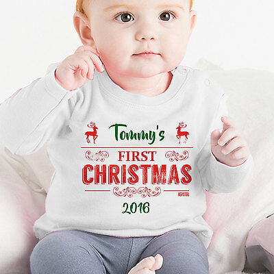 Baby's First Christmas Personalised Tee, Baby Girl Boy First Christmas Gift Xmas