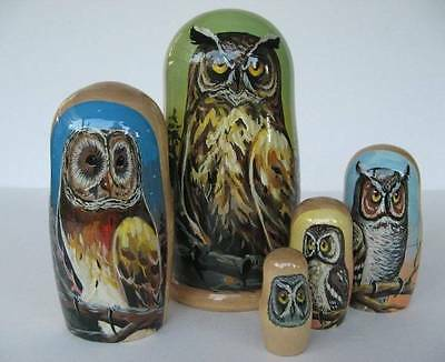 Russian Matryoshka Owl Nesting Dolls - Set of 5 Large Size Made in Russia