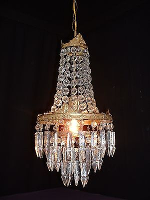 Vintage French bronze crystal chandelier very shabby