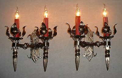 Vintage French wrought iron sconces unique heavy and large