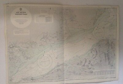 1954 Admiralty Chart 2040 - The Solent, Western Part - Isle of Wight - Cowes