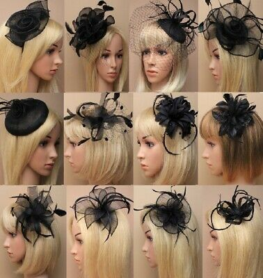 Ascot/Races/Funeral Black Flower/Hat Hair Fascinator Clip/Comb/Headband options