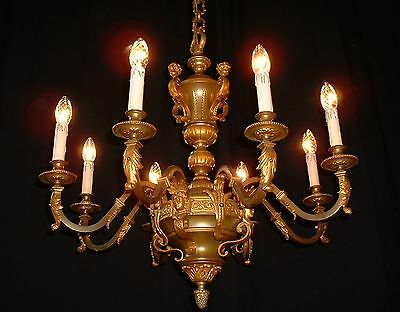 Antique large French bronze regency style chandelier 2 available