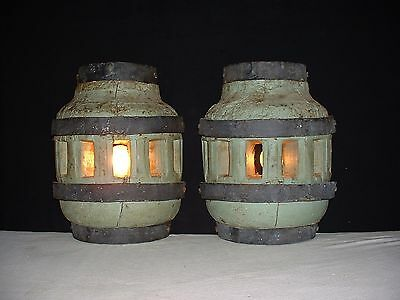 Antique large French wrought iron & wood sconces or table lamp