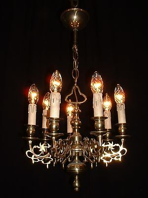 Antique small French bronze Renaissance Style chandelier