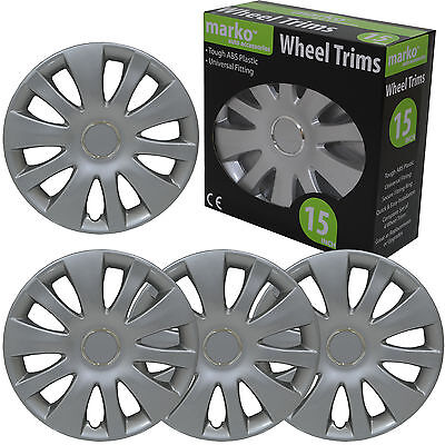 """15"""" Wheel Trims Set Of 4 Universal Fitting Alloy Look Silver Abs Plastic Covers"""