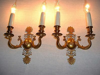 Vintage French bronze Empire style swan sconces