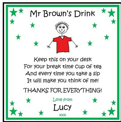 Personalised Coaster TEACHER/TEACHING ASSISTANT NURSERY- Male Female Thank Gift