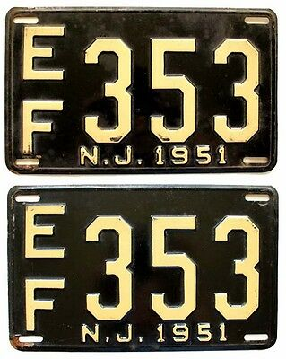 New Jersey 1951 License Plate PAIR, Essex County, EF 353