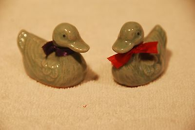 Pair SMALL CHINESE JADE color  DUCK Figurines-Greenish