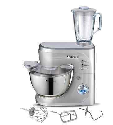 TurboTronic ProLED 1200W Food Stand Mixer - Stainless Steel Mixing Bowl SILVER