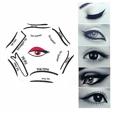 NEW 6 in 1 Cat EYELINER Stencil Liquid Eye Liner Tool Makeup Guide Set Quick UK
