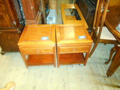 Pair Of Cabinets Teak Colour Paduke Draw Carved Detail To Draw  Shelve Storage
