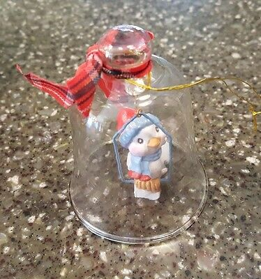 Avon Gift Collection Christmas Charm Glass Bell Ornament Bird NIB