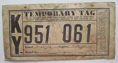 FLORIDA 1975 20-DAY TEMPORARY TAG License Plate # W-00452