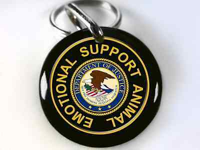 Service Dog Emotional Support Animal Black dog tag ESA custom