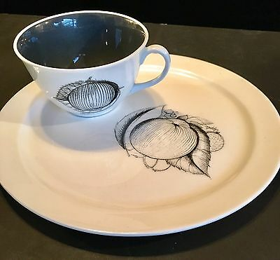 Vintage Susie Cooper Black Fruit Cup and Saucer Rare Tennis Set Apple