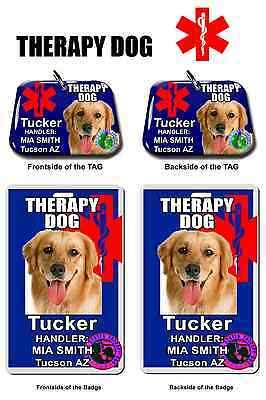 Service Dog ID Tag and Badge THERAPY DOG combo custom photo id for pet blue