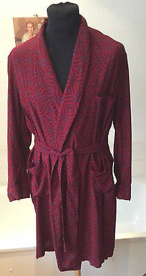 "vintage Tootal ~1950's Rayon dressing gown/ robe paisley wine colored ~S 36""-38"""