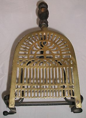 Antique Wrought Iron & Brass Hand Forged Fireplace Trivet Stand