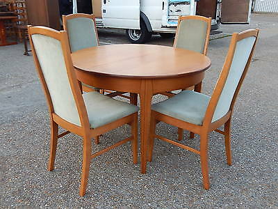 Vintage retro Jentique extending teak dining table with 4x matching dining chair