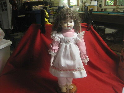 """Vintage 1980s Bisque Doll with Wood Stand - 16"""" Tall"""