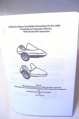 California Sidecar Pre-1989 Owners Manual, Friendship, Companion, Motorcycle