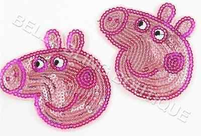 1 Embroidered Girls Sequin Peppa Pig Head Iron On Sew On Patch Clothes Craft