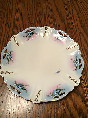 Rosenthal Hand Painted Blue Forget Me Not Open Edged Decorator Plate Signed