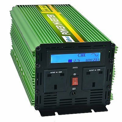 Generic Pure Sine Wave Power Inverter 1500W AC 240V DC 12V LCD Remote
