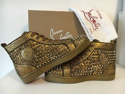 half off d21de 26281 NEW CHRISTIAN LOUBOUTIN Louis Orlato Flat Gold Python Spikes Sneakers Shoe  EU40