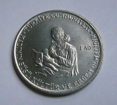 Turkey 5 Lira 1976, Mother breastfeeding child - F.A.O.