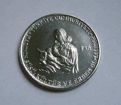 Turkey 2-1/2 Lira 1978, Mother breastfeeding child - F.A.O.